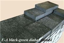 Green Perla Verde Diabase Tile and Cube Stones