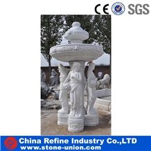 Big White Marble Water Fountain with Lion Head ,Marble Fountain Carved Lady Statue