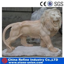 Marble Lion Statue , Stone Sculptures , Marble Carving , Sunset Red Marble Lion Sculpture