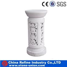 White Marble Carved Factory Flower Pot ,Flower Stand,Exterior Flower Vase for Garden,Hand Craft Marble Planters in Hot Sale,Natural Stone Planter Boxes and Pots in Garden