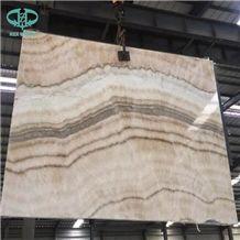 Beige Onyx Big Slab, Wooden White Ice Onyx Slab