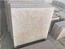 China Yellow Granite G682 Bush Hammered Thick Tiles, Rustic Yellow Granite Outdoor Pavings, Sunset Gold Grantie G682 Patio Paving Cobbles Tiles Slabs, Yellow Pink Granite G682
