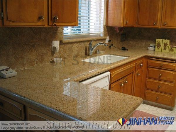 Merveilleux China Golden Yellow Granite Countertops, Cheap Granite Kitchen Countertop,  G682 Desert Gold Kitchen Island Tops, Giallo Fantasia Kitchen Worktops