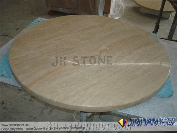 Round Coffee Table Top, Beige Ivory Travertine Coffee Tabletops