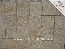 Bush Hammered Cube/Cobble G682 Golden Yellow,Golden Rust, Rustic Yellow , Golden Granite,Yellow Granite,Bush Hammered Cube/Cobble, Flooring/Walling/Pavers/Granite