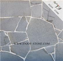 Grey Bluestone Random Crazy Pavers,Fujian Andesite Sawn Cut/Machine Cut and Sides Natural Split Cobble Stone, Irregular Exterior Pattern,Landscaping Paving Sets