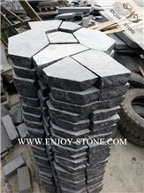 Top Sawn Cut/Machine Cut, Sides Natural Split G684 Meshed Flagstone, Fuding Black Pearl Basalt Irregular Flagstones, Random Paving Patio,Flagstone Driveway