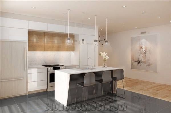 D5111 Statuario Nuvo Quartz Stone Kitchen Countertops With Waterfall And  Kitchen Island Bar Top With Mitred End Panels
