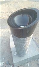 Absolute Black Granite Pedestal Basin,Black Granite Free Standing Sink