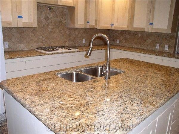 Santa Cecilia Amber Granite Kitchen Countertops, Brazil Yellow Granite  Bench Tops U0026 Kitchen Worktops