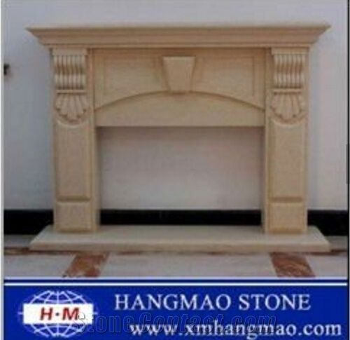 Factory Craft Stove Beige Marble Fireplace Insert