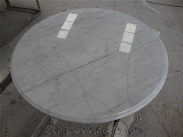 Round Shape Carrara White Marble Table Tops From China