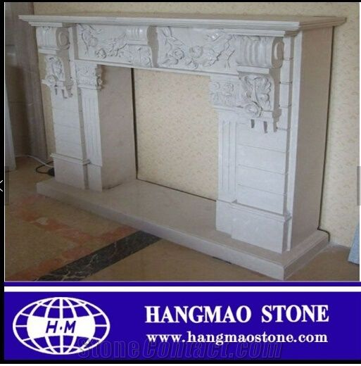 White Marble Fireplace Outdoor Mantel