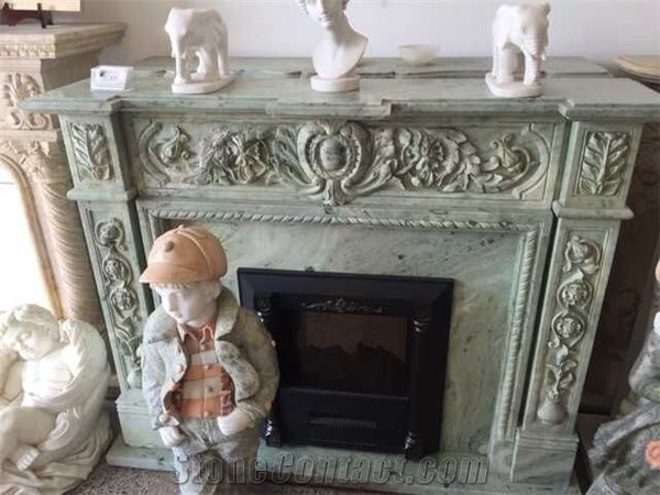 Green Marble Fireplace Decorating, Fireplace Hearth, Flower ...