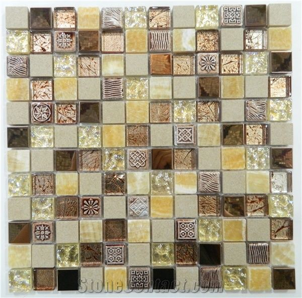 Multicolor Gl Mosaic Tile Mixed With Ceramic All Kinds Of Color Choose Square Shape For Floor Wall