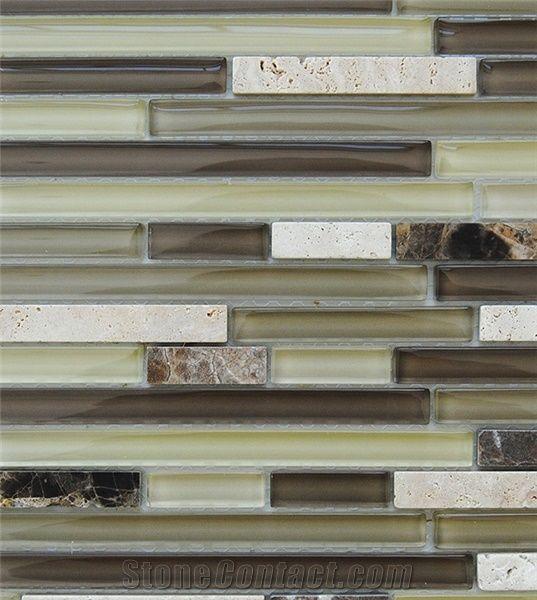 Sample Travertine Emperador Glass Brown Beige Mosaic: Natural Beige Travertine And Dark Emperador Marble With