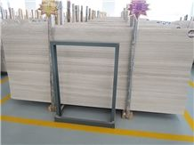 Quarry Owner China Supplier White Wooden Marble Slab Polished Surface