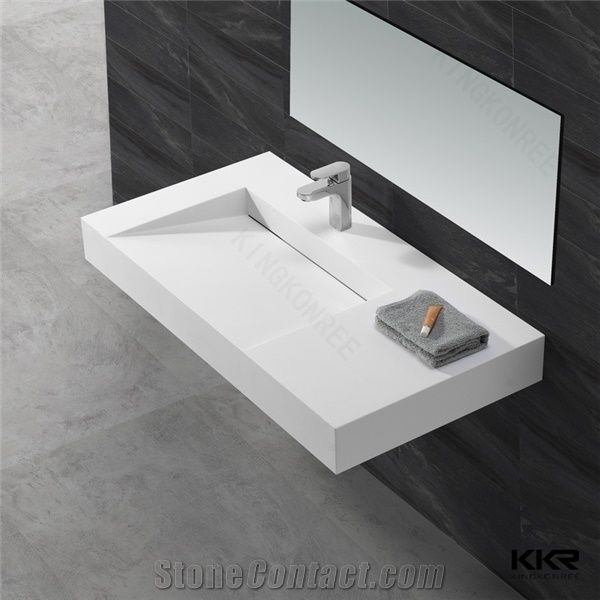 Corian Solid Surface Factory Supply Bathroom Vanity Sinks White Solid Surface Basin From China Stonecontact Com