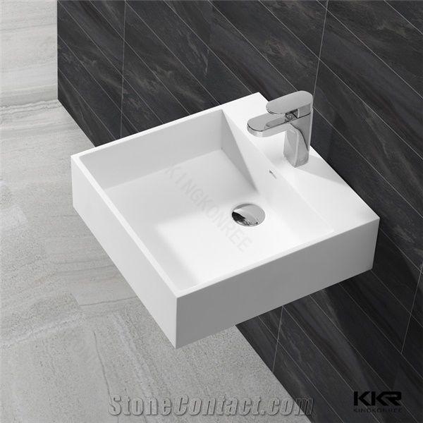 . Modified Acrylic Solid Surface Wash Basin Vanity Basin Pure White