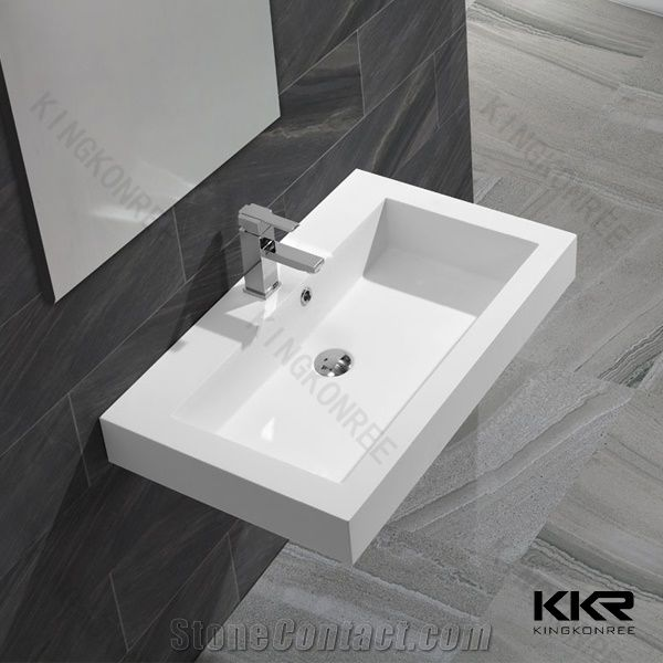 New Design Cast Poly Marble Stone Resin Wash Basins Solid Surface Bathroom Sinks