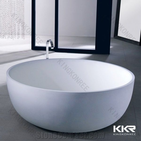 White Color Big Round Jacuzzi Bathtubs Solid Surface Bath Tubs