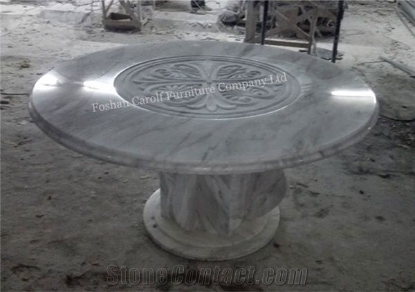 2017 New Product Round Marble Travertine Dining Table With 8 Chairs From China Stonecontact Com