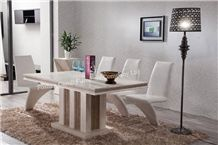 Hand-Caved Travertine Leg Dining Table, Indoor Dining Table Set