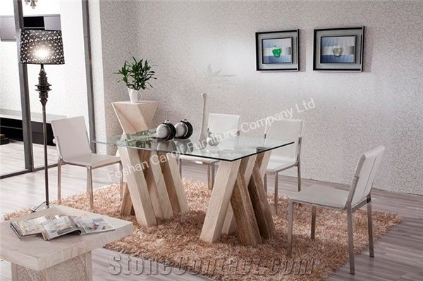 High Quality Travertine Stone Base Dining Table With Gl Top