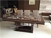 Luxury Furniture Nature Travertine Top Living Room Dining Table with 8 Chairs