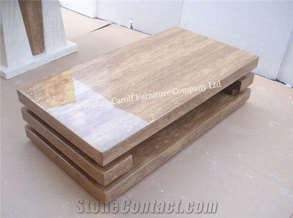 Luxury Yellow Marble Travertine Coffee Table For Living