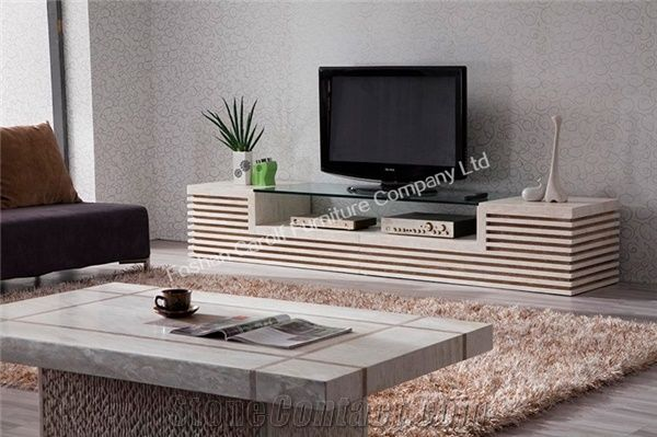 Unique Design Gl Top White Marble Tv Stand From China