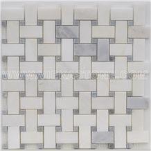Bianco Carrara White Marble Mosaic Tile Basketweave Mosaic