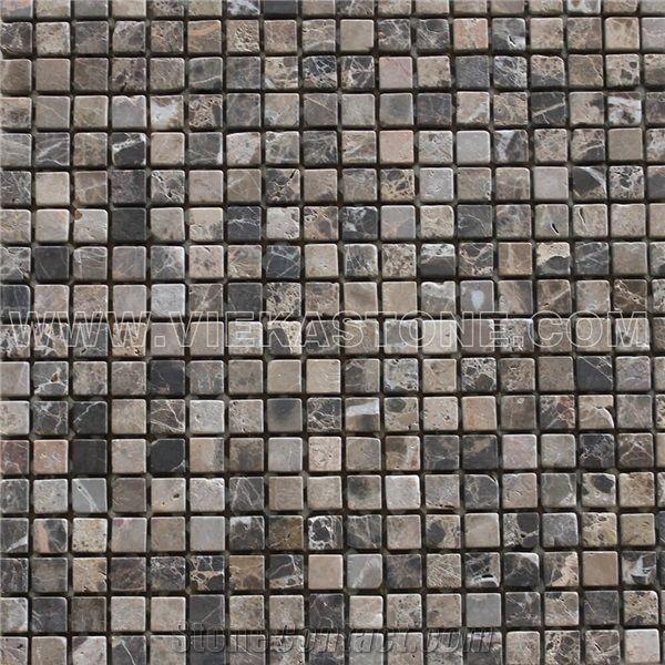 Dark Emperador Marble Mosaic Tile Small
