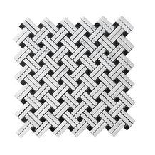Double Thin Bianco Carrara White Marble Mosaic Tile Basketweave, Black Nero Marquina Dot for Interiro Kitchen, Bathroom, Backsplash Wall Floor Polished