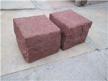 China Red Wood-Vein Sandstone Cleft Split Natural Cube Paver Setts Cobble Stone