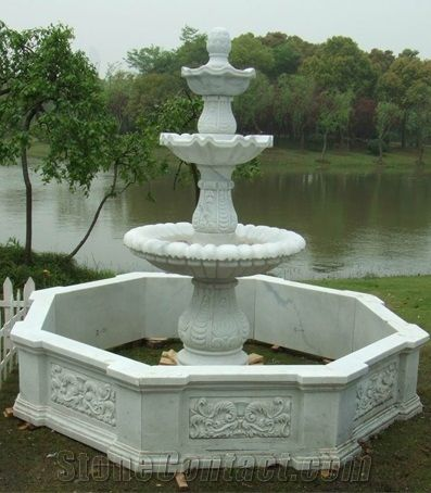 Large Garden Water Fountain , Outdoor Use Resin Water Fountain , Hand  Carved Various Kinds Of Water