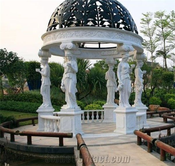 Outdoor Ornamental Natural Stone Gazebo With Metal Roof