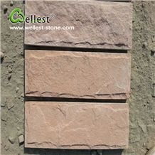 Orange Pink Red Sandstone Split Mushroom Pillow Face Castle Stone Strip for Feature and Garden Exterior Wall Cladding
