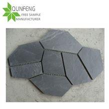 Irregular Random Shape Natural Split Surface Black Stone Wall Tile/Flooring Slate Tile