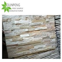 On Sale and Popular P014 Golden Honey Slate Cultured Stone, Yellow Beige Wall Cladding, Thin Cut Stacked Stone Veneer