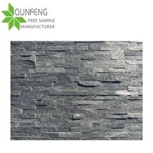 Split Surface Erosion Resistance Antacid Natural Stone Wall Tile Black Quartzite Culture Stone