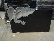 Tombstone with Angels, Aurora Granite Angel with Heart Shape Monuments, China Absolute Black Polished Tombstone & Monument,