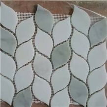 Carrara Polished Mosaic Leaf Shaped Pattern Mosaic Tiles