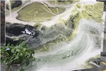 China Green Marble Paradise Jade Dreaming Green Polished Slab&Tile Bookmatch Floor Wall Covering Quarry Exculsive Agency Chinese Manufactory