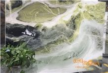Dreaming Green Marble Slabs and Tiles Green and White Natural Stone Wall Cladding,A Grade Natural Stone,Own Factory and Quarry Owner