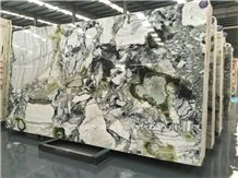 China White Beauty Marble/ Ice Connect Marble/ Green Marble Slabs and Tiles/ Cut to Size/ Bookmatck Wall Covering/ Hotel Floor/ Tv Set Cladding