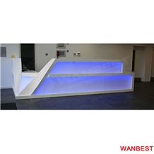Cheap Simple Design Artificial Marble Acrylic L Shape Luminous Led Salon Office Hotel Hospital Clinic Spa Shopping Mall Reception Information Desk