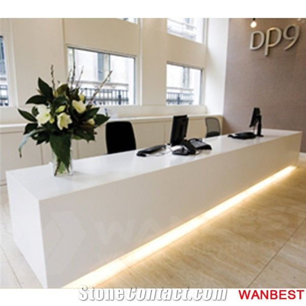 Merveilleux Commercial Artificial Stone Solid Surface White Led Lighted Nail Salon Bank  Spa Reception Desk Office Hotel Lobby Hospital Front Table Modern
