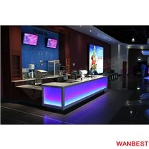 Luxury Luminous Led Marble Top Artificial Stone Nightclub Bar Reception Desk Fast Food Restaurant Cafe Juice Shop Front Table Cashier Desk Design