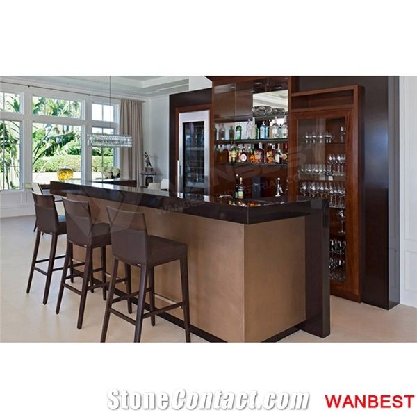Home Bar Counter: Modern Artificial Marble Top Acrylic Wood Portable Home